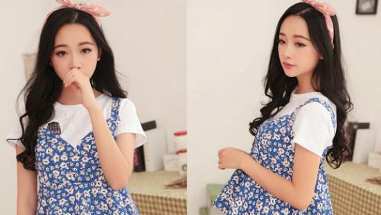 韩国甜美碎花吊带衫+白色t恤+牛仔短裙