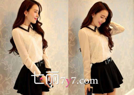 韩版娃娃领衬衫+A字短裙