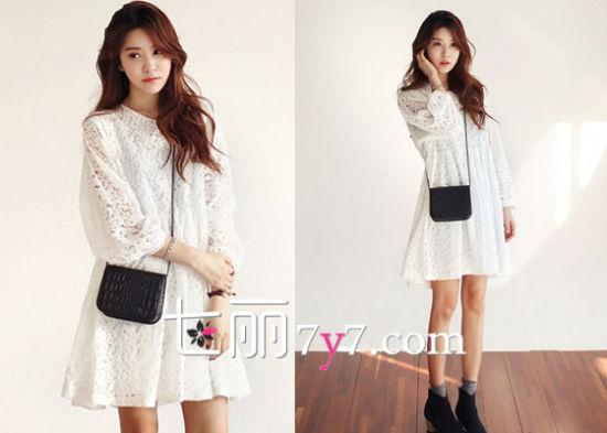 韩版蕾丝长袖连衣裙