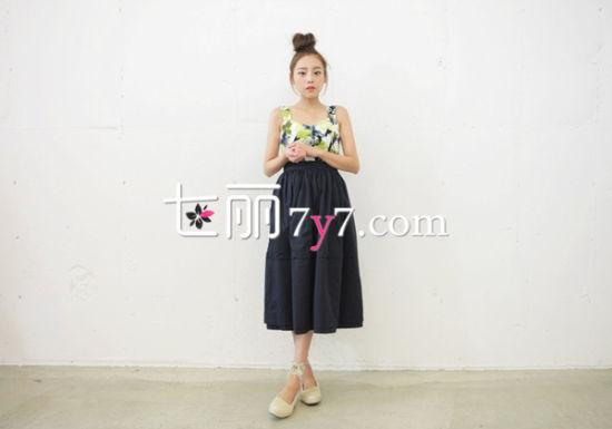 韩版高腰裙LOOK1