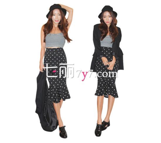 韩版高腰裙LOOK3