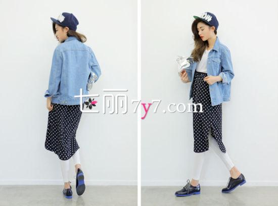 韩版高腰裙LOOK4