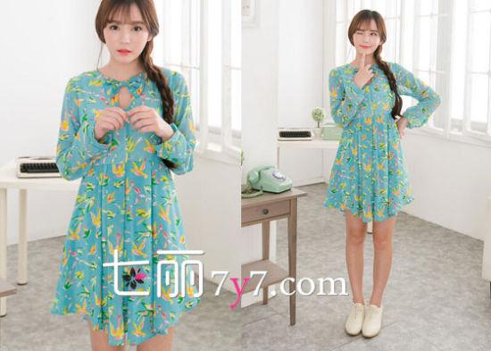 韩版印花雪纺连衣裙