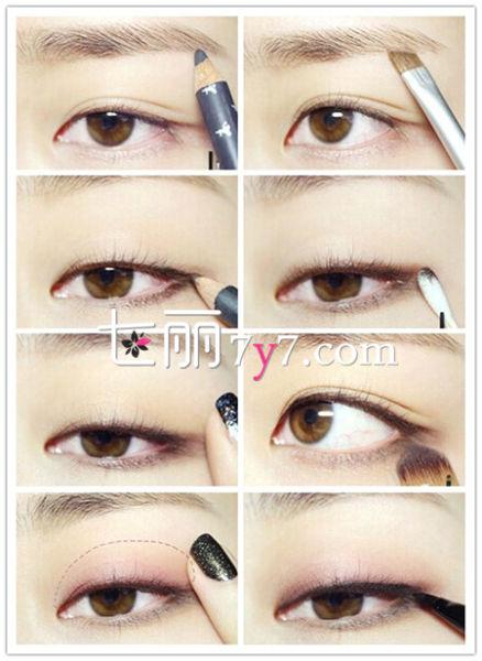 韩国大眼妆画法