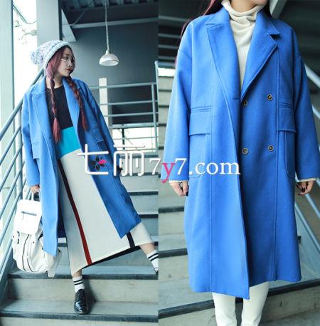宝蓝色韩版呢子大衣外套