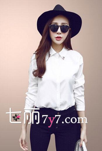韩版白色带钻衬衫