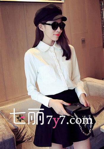 白色小圆领衬衫