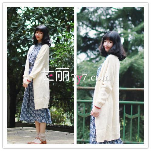 针织衫外套+高腰连衣裙搭配LOOK4