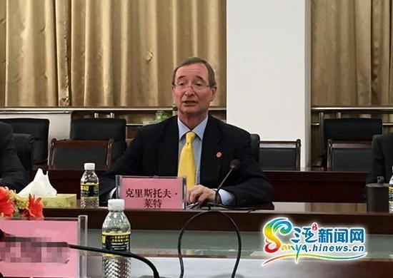 奥地利联邦商会主席莱特博士,曾任欧洲商会荣誉主席(三亚新闻网记者 刘丽萍 摄)