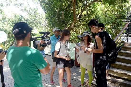 图为节目组嘉宾在景区千里伞旁拍摄节目