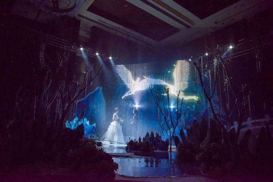 冰雪主题婚礼秀,利用3d全息投影技术将现场嘉宾带入银白色的梦幻童话