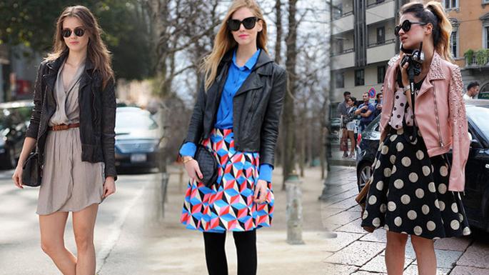 娇小女生福利 皮衣与短裙显高搭配街拍示范图片